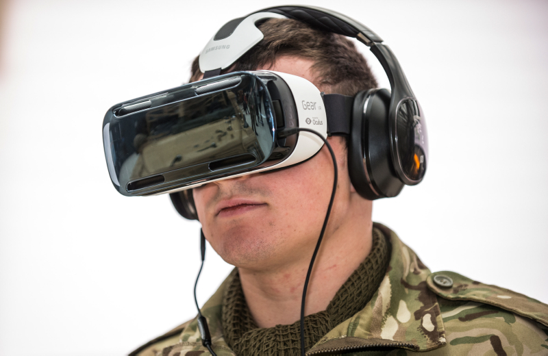 Soldier Using Virtual Reality Headset